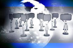 3d people and blank bubbles. Talking. 3d illustration of  people and blank bubbles. Talking Royalty Free Stock Photos