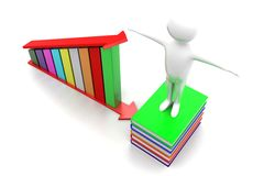 3d people books and proft graph Stock Image