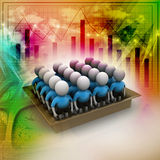 3d people in box, team work concept. In colorful background Royalty Free Stock Images