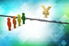 3d people with broken ground  and yen sign Royalty Free Stock Photo