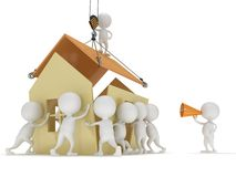 3D people build a house. Business, teamwork, assembling real estate concept Stock Image