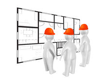 3D people and building plan. 3D people discussing building plan Royalty Free Stock Photography