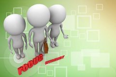 3d people with business bag  and focus efficiency illustration Royalty Free Stock Images