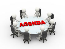 3d people business meeting conference agenda table. 3d illustration business people sitting around a agenda conference table and discussing during a business Stock Images