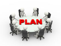 3d people business meeting conference plan table. 3d illustration business people sitting around a conference table with word plan and discussing business Royalty Free Stock Images