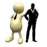 3D People with businessman silhouette posing. On white background Royalty Free Stock Photo