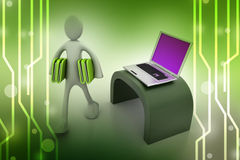 3d people carrying the file folder with computer. In color background Royalty Free Stock Photo