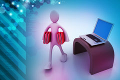 3d people carrying the file folder with computer Royalty Free Stock Image