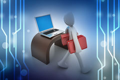 3d people carrying the file folder with computer Royalty Free Stock Photos