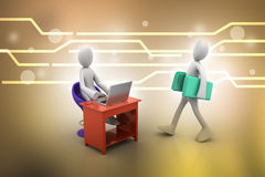 3d people carrying the file folder in office Stock Images