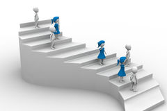 3d people character running up on stairs Royalty Free Stock Image