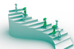 3d people character running up on stairs Royalty Free Stock Images