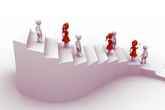 3d people character running up on stairs Royalty Free Stock Photography