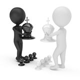 3d people with chess pieces Royalty Free Stock Photography