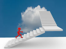 3d people climb the staircase - stair. 3d render Stock Images