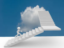 3d people climb the staircase - stair Royalty Free Stock Image