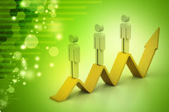 3d people climbing the growing arrow Stock Images