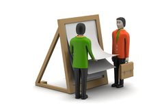 3d people with clip board. In white background Royalty Free Stock Photo