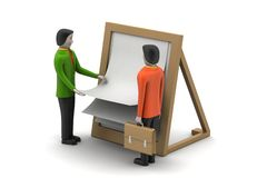 3d people with clip board. In white background Stock Photo