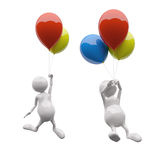 3D People with colorful balloons vector illustration