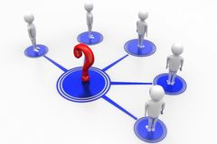 3d people connecting   question marks Stock Image