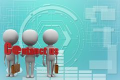 3d people - with contact us illustration Royalty Free Stock Photos