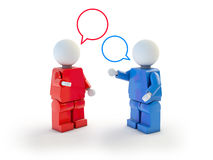3d people conversation. Two cartoon characters speaking with speach bubbles,  on white Stock Images