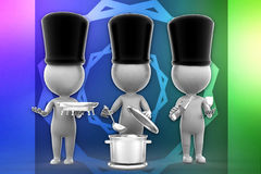 3d people cooking illustration Royalty Free Stock Image