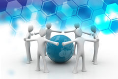 3d people create a circle around the globe Royalty Free Stock Image