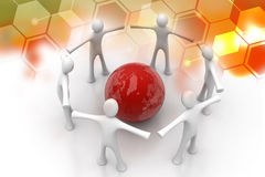 3d people create a circle around the globe Royalty Free Stock Photo