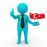 3d people Crimean Tatars businessman - map flag of Turkey . Crimean Tatars in Turkey royalty free stock photo