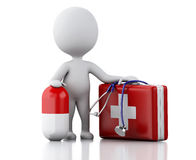 3d people doctor with first aid kit and pills. Royalty Free Stock Photos