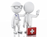 3d people doctors with a stethoscope and first aid kit. Royalty Free Stock Images