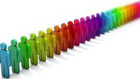3D people figure in row of colorful figures on white background with depth of field focus effect. vector illustration