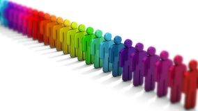 3D people figure in row of colorful figures on white background with depth of field focus effect. royalty free illustration