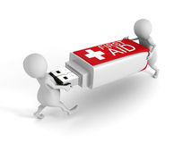 3d People With First Aid Usb Flash Drive On White Background. 3d Render Illustration Royalty Free Stock Photos