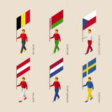 3d people with flags  Belgium, Belarus, Czech, Austria, Netherla Royalty Free Stock Image