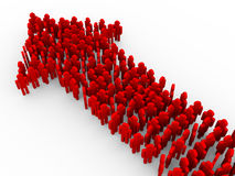 3d people forming arrow. 3d illustration of red people creating arrow shape. Concept of teamwork, leader, leadership, success and growth Royalty Free Stock Image
