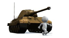 3D people in front of a battle tank -  on white Royalty Free Stock Image
