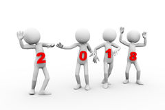 3d 2018 people fun dancing celebrating. 3d rendering of men dancing on new year 2018 holding event. 3d white person people man Stock Photos