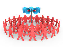 3d people gather around loudspeakers Stock Image