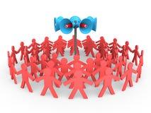 3d people gather around loudspeakers. 3d render of people gather around loudspeakers stock illustration