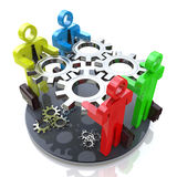 3d people - gears turned Royalty Free Stock Images