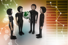 3d people with globe Royalty Free Stock Photos