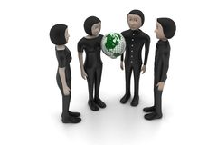 3d people with globe Stock Photos