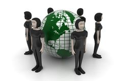 3d people with globe Stock Images