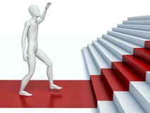 3d people going on a red path upwards on steps Stock Photos