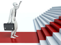 3d people going on a red path upwards on steps Royalty Free Stock Photography