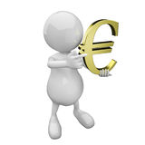 3D people with golden euro sign Royalty Free Stock Image