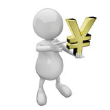 3D people with golden yen sign Royalty Free Stock Images